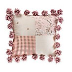 Glenna Jean Maddie Pom Pom Patch Throw Pillow in Pink