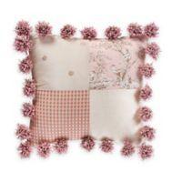 Glenna Jean Maddie Pom Pom Patch Throw Pillow in Pink