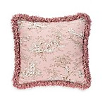 Glenna Jean Maddie Fringed Toile Throw Pillow in Pink