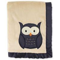 Hudson Baby® Plush Owl Blanket with Satin Trim in Navy