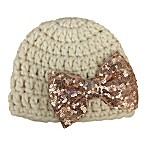 So 'dorable Size 0-12M Crochet Hat with Rose Gold Sequin Bow