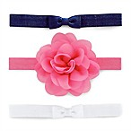 carter's® Size 0-6M 3-Pack Headwraps with Bow & Plume Detail in Navy/Pink