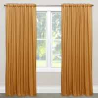 Skyline Solid Room Darkening 108-Inch Rod Pocket/Back Tab Window Curtain Panel in Gold
