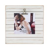 Lawrence Frames Weathered 9-Inch Square Picture Frame with Clip in White