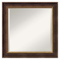 25-Inch Veneto Square Mirror in Distressed Black