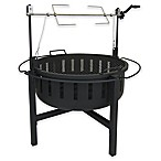 Landmann USA Fire Rock Fire Pit with Rotisserie & Grill in Black