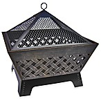 Landmann USA Barrone Crosshatch Fire Pit with Cover in Antique Bronze