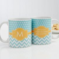 Preppy Chic 11 oz. Coffee Mug in White