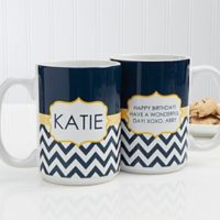 Preppy Chic 15 oz. Coffee Mug in White