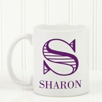 Striped Monogram 11 oz. Coffee Mug in White