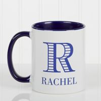 Striped Monogram 11 oz. Coffee Mug in Blue