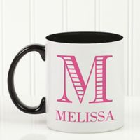 Striped Monogram 11 oz. Coffee Mug in Black