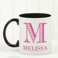 Striped Monogram 11 oz. Coffee Mug in Black