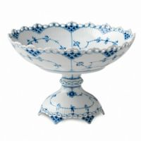 Royal Copenhagen Fluted Full Lace Footed Compote in Blue