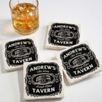 Whiskey Label Tumbled Stone Coasters (Set of 4)