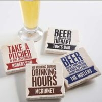 Beer Quotes Tumbled Stone Coasters (Set of 4)