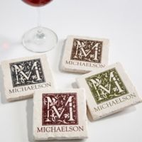 Floral Monogram Tumbled Stone Coasters (Set of 4)