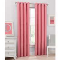 Del Ray 95-Inch Light Filtering Grommet Top Window Curtain Panel in Coral