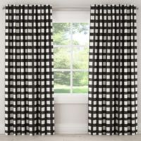 Skyline Furniture Buffalo Square 120-Inch Rod Pocket/Back Tab Window Curtain Panel in Black