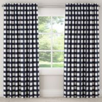 Skyline Furniture Buffalo Square 84-Inch Rod Pocket/Back Tab Window Curtain Panel in Blue