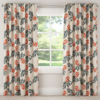 Skyline Mod Floral 84-Inch Room Darkening Rod Pocket/Back Tab Window Curtain Panel in Orange