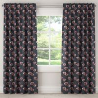 Skyline Furniture Poppy 84-Inch Blackout Rod Pocket Window Curtain Panel Pair in Navy