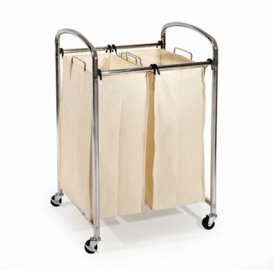 seville classics 2bag laundry sorter hamper cart in chrome