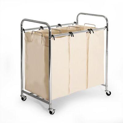 seville classics 3bag heavy duty laundry sorter hamper cart in champagne