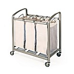 Seville Classics 3-Bag Slanted Handle Mesh Laundry Sorter Hamper Cart in Champagne