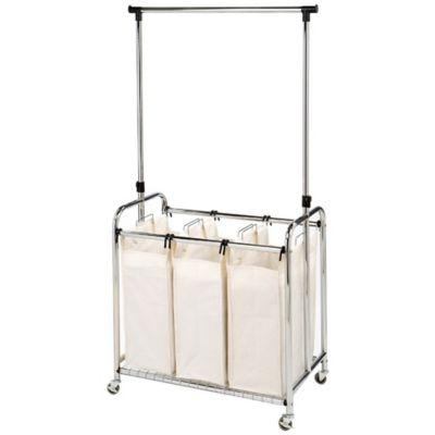 seville classics 3bag laundry sorter hamper cart with hanging bar in natural