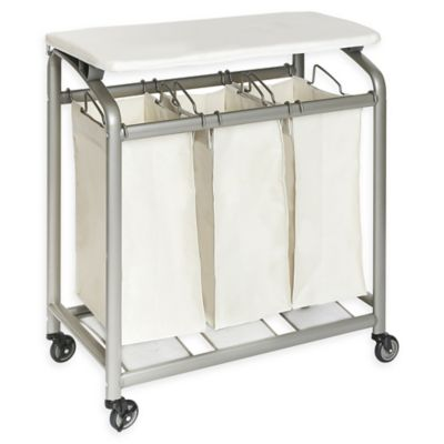 Seville Classics 3 Bag Laundry Sorter Hamper Cart With Folding Table In  Natural