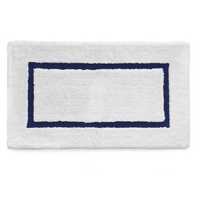 Katex Baratta Turkish Cotton Bath Rug In White Navy