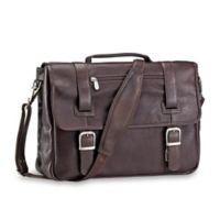 Piel® Leather 15.5-Inch Flap-Over Soft Sided Brief in Chocolate