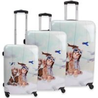 Chariot Aviator Cats 3-Piece Hardside Luggage Set in Blue