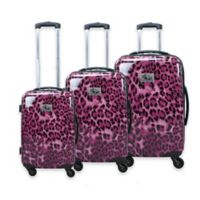 Chariot Leopard 3-Piece Luggage Set in Pink