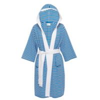 Pure Fiber Large/Extra-Large Knee Length Striped Jersey Knit Bathrobe in Blue
