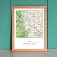Your Home in the Center Framed Map in Beech