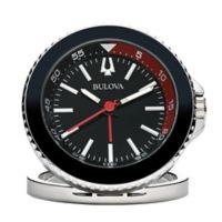 Bulova Compact Quartz Travel Alarm Clock with Luminescent Hands in Black