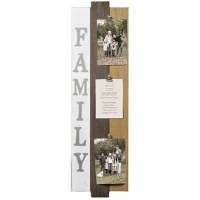 "Prinz 3-Photo 4-Inch x 6-Inch ""Family"" Clip Plank Wood Plaque"
