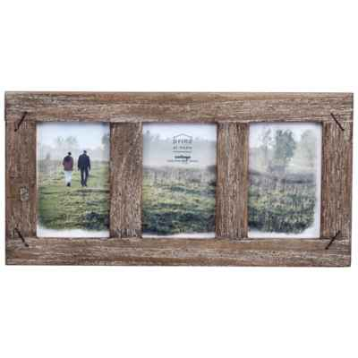Prinz Barnswood 3-Photo 4-Inch x 6-Inch Wood Frame with Nail Accents