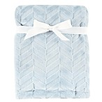 Hudson Baby® Herringbone Burnout Plush Blanket in Blue
