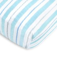 SwaddleDesigns® 3-Color Stripe Muslin Fitted Crib Sheet in Blue