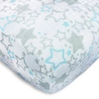 SwaddleDesigns® Starshine Muslin Fitted Crib Sheet in Blue