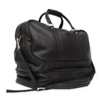Piel® Leather False-Bottom Sports Bag in Black