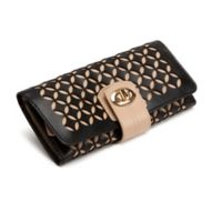 Wolf Designs Chloe Leather Jewelry Roll in Black