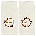 Saturday Knight Fall 2-Piece  Wreath Hand Towel Set in Ivory