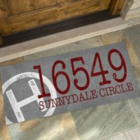 Initial Stamped Address 24-Inch x 48-Inch Oversized Doormat