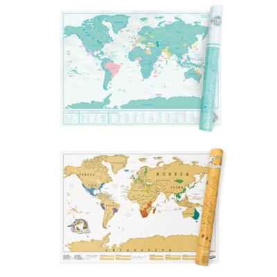33-Inch x 23-Inch World Scratch Map Wall Art