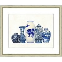 Blue Vase Grouping 19-Inch x 23-Inch Framed Wall Art