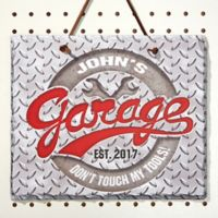 His Garage Rule Slate Plaque